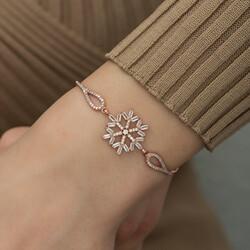 Gümüş Rose Baget Taşlı Kar Tanesi Bileklik - Thumbnail