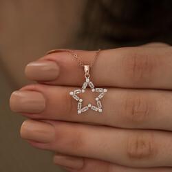 Gümüş Rose Baget Taşlı Yıldız Kolye - Thumbnail