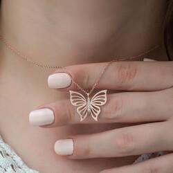 Gümüş Rose Bahar Kelebeği Bayan Kolye - Thumbnail