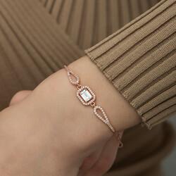 Gümüş Rose Dikdörtgen Baget Bileklik - Thumbnail