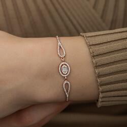 Gümüş Rose Oval Baget Bileklik - Thumbnail