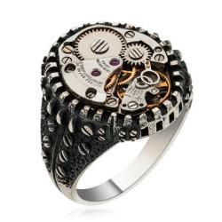 Gumush - Gümüş Saat Mekanizmalı Erkek Yüzük