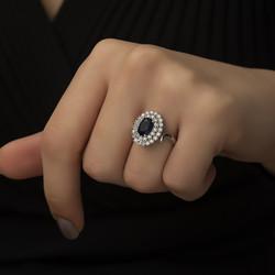 Gümüş Safir Renkli Bayan Yüzük - Thumbnail