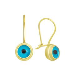 Gumush - Gümüş Göz Sallantılı Gold Nazar Küpe