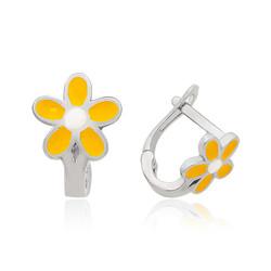 Gumush - Gümüş Sarı Çiçek Çocuk Küpesi