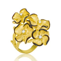 Gumush - Gümüş Sarı Çiçek Bayan Yüzük