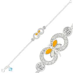 Gumush - Gümüş Sarı Kelebek Sonsuzluk Çocuk Bileklik