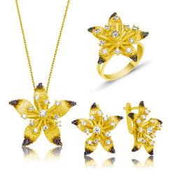 Gumush - Gümüş Sarı Çiçek Bayan Set