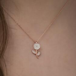 Gümüş Sedef Çiçek Kolye - Thumbnail