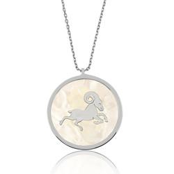 Gumush - Gümüş Sedef Taşlı Koç Burcu Bayan Kolye