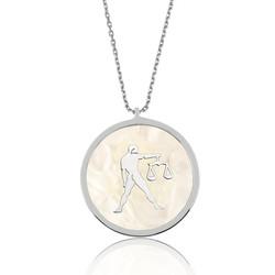 Gumush - Gümüş Sedef Taşlı Terazi Burcu Bayan Kolye