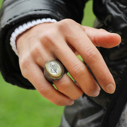 Gumush - Gümüş Sedef Taşlı Eli Vav Erkek Yüzük (1)