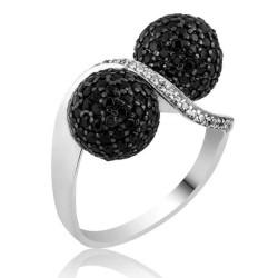 Gumush - Gümüş Siyah Taşlı Top Bayan Yüzük