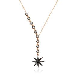 Gumush - Gümüş Sıra Taşlı Yıldız Bayan Kolye