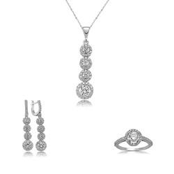 Gumush - Gümüş Sıralı Dört Taş Bayan Set