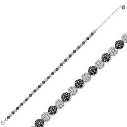 Gumush - Gümüş Siyah Beyaz Su Yolu Bayan Bileklik