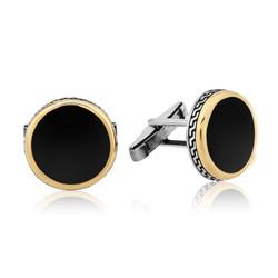 Gumush - Gümüş Yuvarlak Siyah Klasik Kol Düğmesi