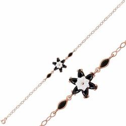 Gumush - Gümüş Siyah Lotus Çiçeği Bileklik