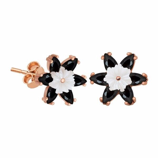 Gümüş Siyah Lotus Çiçeği Küpe