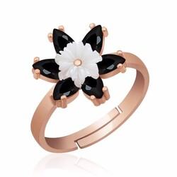 Gumush - Gümüş Siyah Lotus Çiçeği Yüzük