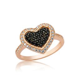 Gumush - Gümüş Siyah Taşlı Kalp Bayan Yüzük