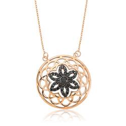 Gumush - Gümüş Siyah Yaşam Çiçeği Bayan Kolye