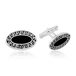 Gumush - Gümüş Siyah Zeminli Desenli Oval Kol Düğmesi
