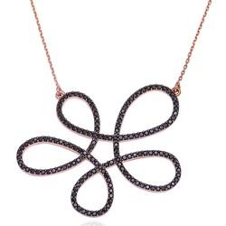 Gumush - Gümüş Siyah Çiçek Bayan Kolye