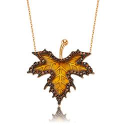 Gumush - Gümüş Sonbahar Çınar Yaprağı Kolye