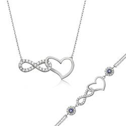Gumush - Gümüş Sonsuzluk Kalp Bayan Set