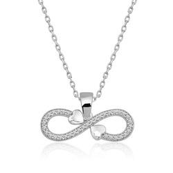 Gumush - Gümüş Sonsuzluk Kalpler Bayan Kolye