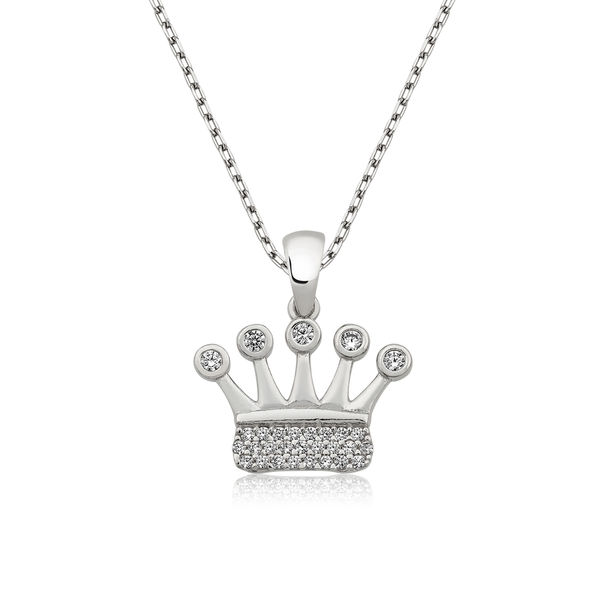 Gümüş Taç Bayan Kolye