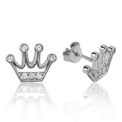 Gumush - Gümüş Kraliçe Tacı Çivili Küpe