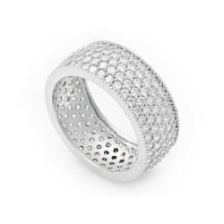 Gumush - Gümüş 5 Sıra Beyaz Tamtur Bayan Alyans Yüzük