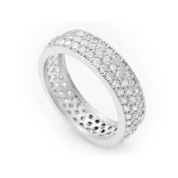 Gumush - Gümüş 3 Sıra Beyaz Tamtur Bayan Alyans Yüzük