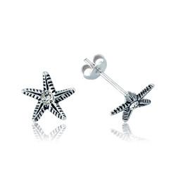 Gumush - Gümüş Deniz Yıldızı Çivili Küpe