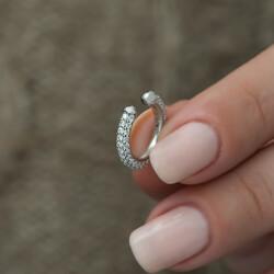 Gümüş Taşlı Halka Kıkırdak Küpe - Thumbnail