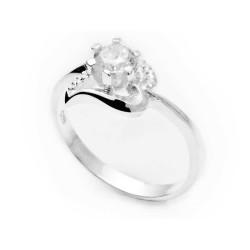 Gumush - Gümüş Tek Taş Bayan Kalp Yüzük