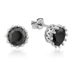 Gumush - Gümüş Tırnaklı Siyah Tek Taş Küpe