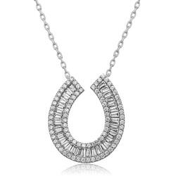 Gumush - Gümüş Trapez Taşlı Bayan Kolye