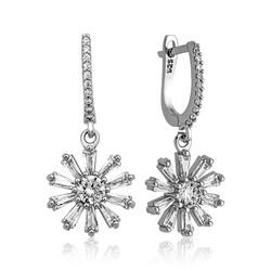 Gumush - Gümüş Trapez Taşlı Çiçek Bayan Küpe