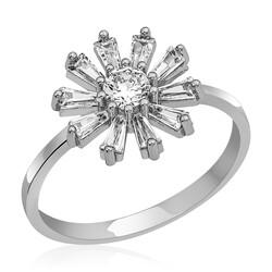 Gumush - Gümüş Trapez Taşlı Çiçek Bayan Yüzük