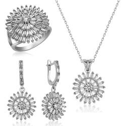 Gumush - Gümüş Baget Taşlı Bayan Set
