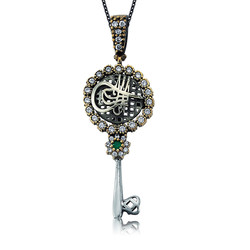 Gumush - Gümüş Taşlı Anahtar Tuğra Bayan Kolye