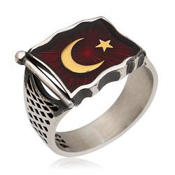 Gumush - Gümüş Türk Bayrağı Erkek Yüzük