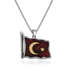 Gumush - Gümüş Türk Bayrağı Kolye