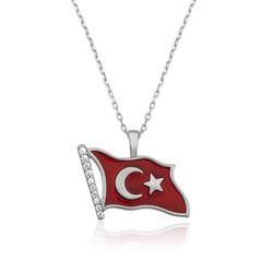 Gumush - Gümüş Türk Bayrağı Bayan Kolye