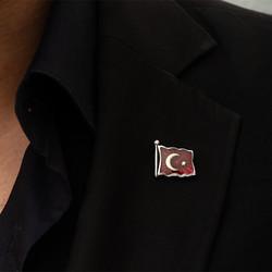Gumush - Gümüş Türk Bayrağı Rozet (1)