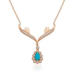 Gumush - Gümüş Turkuaz Taşlı Madalyon Bayan Kolye