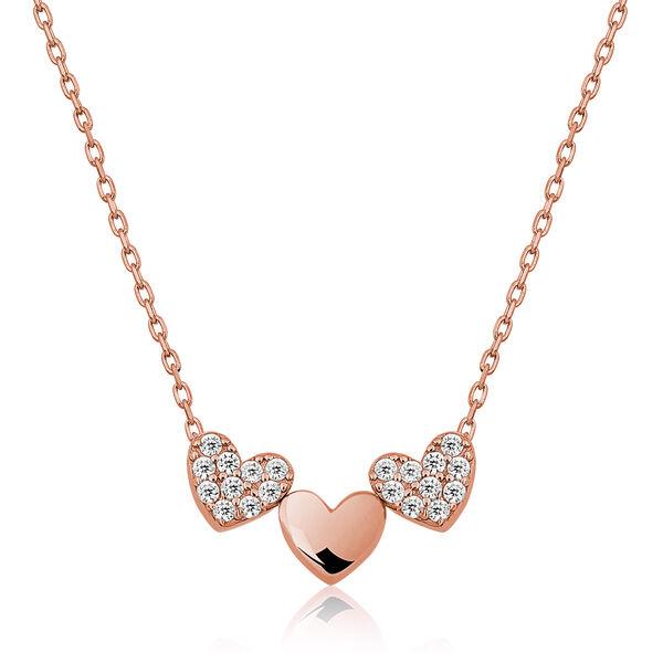 Gümüş Üç Kalp Bayan Kolye